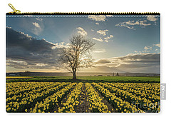 Carry-all Pouch featuring the photograph Skagit Daffodils Lone Tree  by Mike Reid