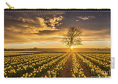 Carry-all Pouch featuring the photograph Skagit Valley Daffodils Sunset by Mike Reid