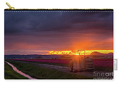 Carry-all Pouch featuring the photograph Skagit Valley Tractor Sunstar by Mike Reid