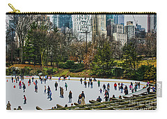 Skating At Central Park Carry-all Pouch by Sandy Moulder
