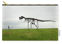 Skeletal Man Walking His Dinosaur Statue Carry-all Pouch