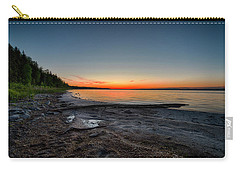 Carry-all Pouch featuring the photograph Skeleton Lake Beach At Sunset by Darcy Michaelchuk