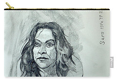 Carry-all Pouch featuring the painting Sketch For Sera.10.01 by Ray Agius
