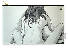 Carry-all Pouch featuring the painting Sketch For Sera.10.02 by Ray Agius