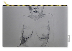 Carry-all Pouch featuring the drawing Sketch Reclining Cassie by Ray Agius