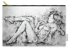 Sketchbook Page 46 Drawing Woman Classical Sitting Pose Carry-all Pouch