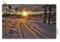 Ski Trails With Sun Beams Carry-all Pouch by Tamara Sushko