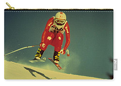 Carry-all Pouch featuring the photograph Skiing In Crans Montana by Travel Pics