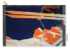 Skiing On The Alps In Cortina - Ice Hockey Tournament - Vintage Advertising Poster Carry-all Pouch