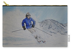 Carry-all Pouch featuring the painting Skiing The Whistler Blackcomb In Bc by Kelly Mills