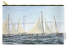 Carry-all Pouch featuring the painting Skipjacks Racing Chesapeake Bay Maryland Detail by G Linsenmayer