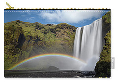 Carry-all Pouch featuring the photograph Skogafoss And Companion Rainbow by Rikk Flohr