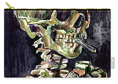 Skull Of A Skeleton With Burning Cigarette Carry-all Pouch
