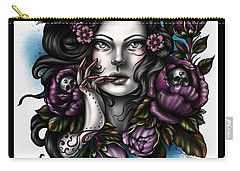 Skulls And Roses Carry-all Pouch