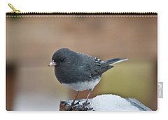 Slate Junco Feeding In Snow Carry-all Pouch