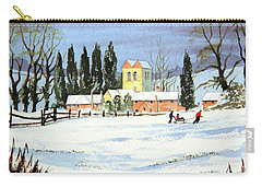 Carry-all Pouch featuring the painting Sledding With Dad by Bill Holkham