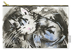 Carry-all Pouch featuring the painting Sleeping Tabby Cat by Zaira Dzhaubaeva