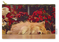 Carry-all Pouch featuring the photograph Sleepy Holiday Corgi Surrounded By Poinsettias. by Kathy Kelly