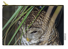 Carry-all Pouch featuring the photograph Sleepy Owl by Shannon Harrington