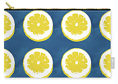 Carry-all Pouch featuring the mixed media Sliced Lemons On Blue- Art By Linda Woods by Linda Woods