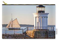 Carry-all Pouch featuring the photograph Sloop And Lighthouse, South Portland, Maine  -56170 by John Bald