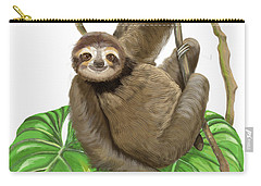 Carry-all Pouch featuring the mixed media Hanging Three Toe Sloth  by Thomas J Herring