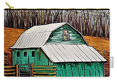 Small Green Barn With Quilted Window Carry-all Pouch by Jim Harris