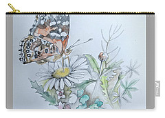 Carry-all Pouch featuring the drawing Small Pleasures by Rose Legge