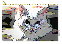 Carry-all Pouch featuring the mixed media Smart Cat by Charles Shoup
