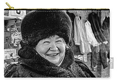 Carry-all Pouch featuring the photograph Smiling Woman With Squinting Eyes by John Williams