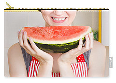 Smiling Young Woman Eating Fresh Fruit Watermelon Carry-all Pouch by Jorgo Photography - Wall Art Gallery