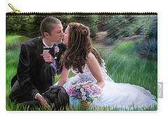 Carry-all Pouch featuring the painting Smith Wedding Portrait by Jane Girardot