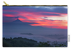 Smoking Volcano And Borobudur Temple Carry-all Pouch
