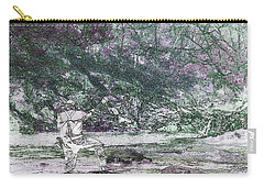 Carry-all Pouch featuring the photograph Smoky Mountain Fisherman by Mike Eingle