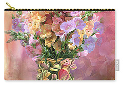 Carry-all Pouch featuring the mixed media Snapdragons In Snapdragon Vase by Carol Cavalaris