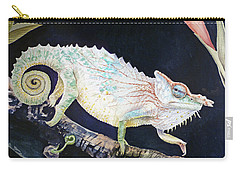 Carry-all Pouch featuring the painting Sneaky Chameleon  by Irina Sztukowski