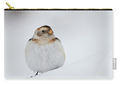 Carry-all Pouch featuring the photograph Snow Bunting - Scottish Highlands by Karen Van Der Zijden