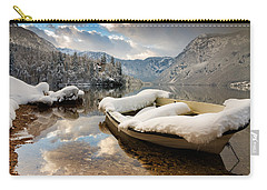 Snow Covered Boat On Lake Bohinj In Winter Carry-all Pouch