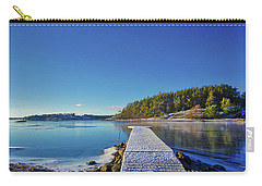 Snow-covered Dock Carry-all Pouch