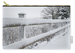 Snow Covered Fence Carry-all Pouch by Helen Northcott