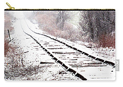Snow Covered Wisconsin Railroad Tracks Carry-all Pouch