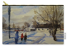 Carry-all Pouch featuring the painting Snow Day by Sandra Strohschein