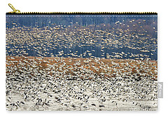 Carry-all Pouch featuring the photograph Snow Geese At Willow Point by Lois Bryan