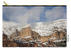 Carry-all Pouch featuring the photograph Snow Kissed Morning In Sedona, Az by Sandra Bronstein