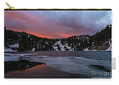 Snow Lake Icy Sunrise Fire Carry-all Pouch by Mike Reid