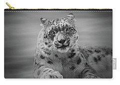 Carry-all Pouch featuring the photograph Snow Leopard  Bw by Sandy Keeton
