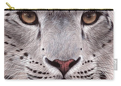 Snow Leopard Face Carry-all Pouch by Rachel Stribbling