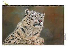Snow Leopard On Rock Carry-all Pouch by David Stribbling