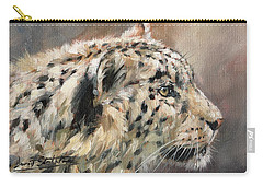 Carry-all Pouch featuring the painting Snow Leopard Study by David Stribbling