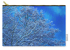 Carry-all Pouch featuring the photograph Snow On Branches Photo Art by Sharon Talson